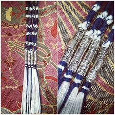 The Kings tassel / TzitTzits  Silver jewels with a cord of blue