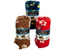 """Soft Fleece Paw Print Pet Blanket, 6 - Ideal for pet carriers and pet beds, this Fleece Paw Print Pet Blanket features an ultra-soft fleece blanket with a fun paw print and blanket-stitched edges. Measures approximately 39"""" x 55"""". Comes in assorted colors. Comes packaged with a wrap around.-Colors: brown,white,yellow,blue,red,beige. Material: polyester. Weight: 0.8333/unit"""