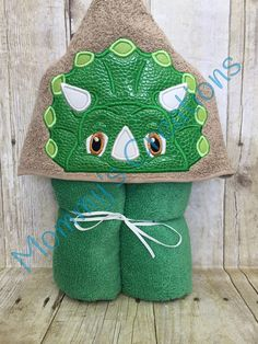 "Dinosaur Applique Hooded Bath, Beach Towel 30"" x 54"" by MommysCraftCreations on Etsy"