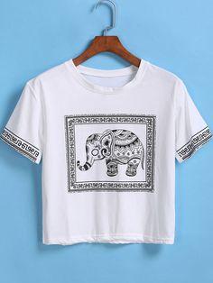 (one size) White Short Sleeve Elephant Print Crop T-Shirt