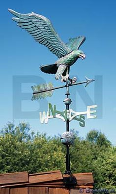 Whitehall Add a majestic symbol of freedom to the peak of your home with the Whitehall Copper Eagle Weathervane. A magnificent eagle sculpture adorns the top of this unit, and its significant wing