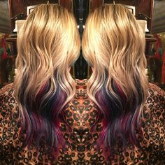 Blonde with shadowed purple, magenta, and blue