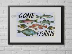 Artist Shanni Welsh's Gone Fishing art print. Gone Fishing wall art. Fish Print.