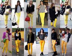 calça colorida amarela como usar