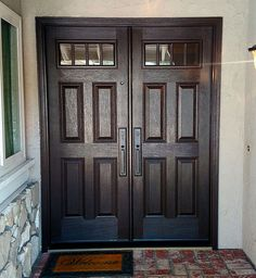 Plastpro textured Mahogany fiberglass in Walnut stain with Clear glass. Installed in Brea, CA Entry Doors With Glass, Glass Door, Walnut Stain, Clear Glass, Light Up, Interior, Home Decor, Indoor, Interiors