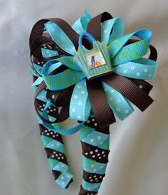 Blue Purse Girls Ribbon Woven Headband with Coordinating, Detachable Bow by AdelaidDesigns on Etsy