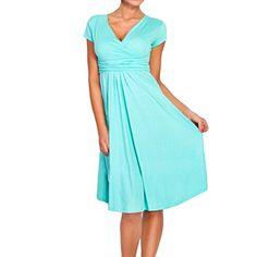 Sue&Joe Women's Fit and Flare Dress V-neck Ruched Flowy Pleated Cap Sleeve Dress, Sky Blue, M Sue&Joe http://www.amazon.com/dp/B00VX17O6S/ref=cm_sw_r_pi_dp_zoiJvb0YAVRJE