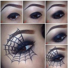 18 Eye Makeup Choices For An Artistic Halloween - Exquisite Girl Halloween Eye Makeup, Halloween Costumes, Witch Costumes, Kids Witch Makeup, Vintage Halloween, Spider Makeup, Spider Queen, Queen Costume, Zombie Makeup