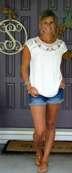 LOVE THIS WHITE TOP to wear with anything.