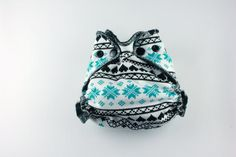 Christmas Cloth Diaper - Newborn Small Fitted Cloth Diaper 5-15 lbs Heavy Bamboo Fleece Cotton Velour - Blue Fair Isle Sweater