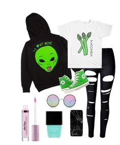 """""""Untitled #1086"""" by rosefire145 on Polyvore featuring RIPNDIP, WithChic, Converse, Sunday Somewhere and Butter London"""
