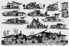 ArtStation - Weekly sketches week 20-building thumbnails-, Hue Teo