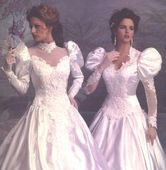 1980s Wedding Dress, Wedding Dress With Veil, Beautiful Wedding Gowns, Wedding Dress Sleeves, Beautiful Dresses, Wedding Dresses, Chic Vintage Brides, Vintage Gowns, Vintage Bridal