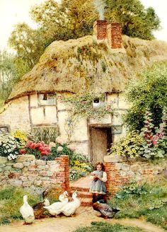 Arthur Claude Strachan (British, «At the cottage gate