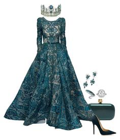 A fashion look from October 2015 featuring jimmy choo shoes, ring and crown tiara. Browse and shop related looks. Beautiful Gowns, Beautiful Outfits, Elegant Dresses, Pretty Dresses, Royal Clothing, Mode Kpop, Royal Dresses, Classy Outfits, Occasion Dresses