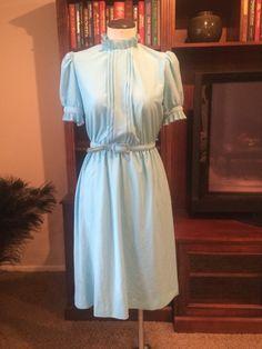 Vintage Blue Short Sleeve Belted Dress