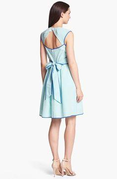 Cute for summer! Blue seersucker fit & flare bow dress