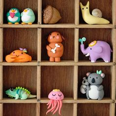A great idea for storing tiny treasures, but I just think the clay creatures are cute.