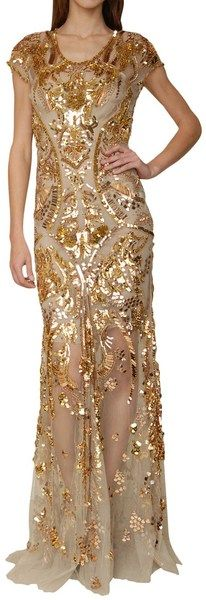 #RobertoCavalli Tulle Mermaid Dress with Golden Sequins Embrodery