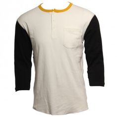 Brixton Clothing Mens Knit Detroit Henley White Black www.hansensurf.com