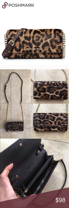"""Michael Kors Jet Set Leopard Calfhair Cross Body This compact leopard-print piece unfolds to a functional array of pockets and zip compartments, while a sleek chain and leather strap give you the freedom to wear it whichever way you want. Slip it into your favorite carryall by day, then wear it over your shoulder solo for night. Well loved and cared for. Only carried one week on holiday.       -100% Leather -Adjustable Strap: 23-25"""" -Interior: One Zip Coin Pouch, Four Open Pockets, 8 Card…"""