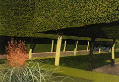 Norman Stevens (British, 1937-1988), The Stilt Garden, Hidcote, 1981. Etching and aquatint.
