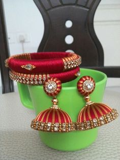 Silk thread bangles and jhumkas
