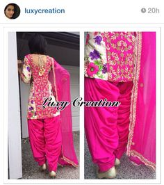 Punjabi suit ----- this would be super cute if the top was longer with tighter fitting leggings. Punjabi Dress, Pakistani Dresses, Indian Dresses, Punjabi Suits, Salwar Suits, Punjabi Fashion, Bollywood Fashion, Asian Fashion, Ethnic Fashion