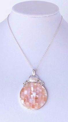 Sajen 925 Sterling Silver Necklace Pendant Womens Large Mother Of Pearl Inlay  #Sajen #Pendant