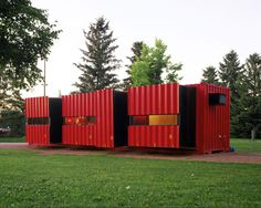 Mobile home created from a shipping container. The various rooms fold back in if the dwelling needs to be moved.