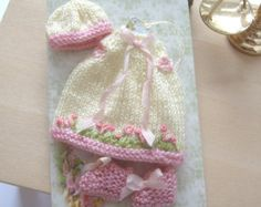 dollhouse baby knitted outfit matinee coat by Rainbowminiatures
