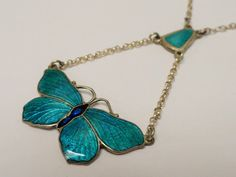 Lavalier Sterling Silver & turquoise enamel necklace
