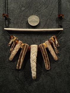 SCA Carved deer antler Necklace by TheYurich on Etsy