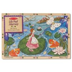 Melissa & Doug Thumbelina Lily Pad Journey Wooden Jigsaw Puzzle pcs, 2 x 3 feet) Jigsaw Puzzles For Kids, Wooden Jigsaw Puzzles, Melissa & Doug, Watercolor Artwork, Puzzle Pieces, Puzzle Board, Cool Toys, 6 Years, Lily Pad