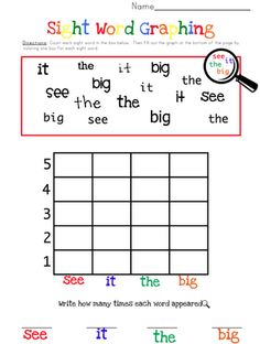 sight word graphing - great idea, need to recreate for reading street. @Jess Liu Herceg  What do you think about recreating this for reading street homework??