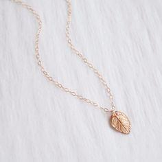 Tiny Rose Gold Leaf Necklace