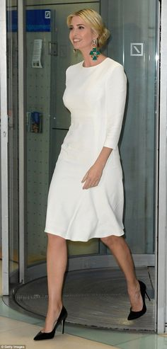 Ivanka Trump donned an elegant white dress while attending a gala dinner at Deutsche Bank in Berlin on Tuesday night