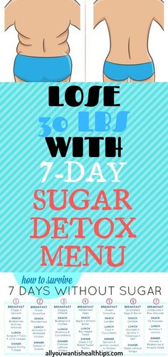 Lose 30 Pounds With This Great Sugar Detox Menu Plan! 7 Day Sugar Detox, Sugar Detox Plan, Wellness Fitness, Health And Wellness, Health Fitness, Wellness Plan, Health Goals, Health Advice, Health Motivation