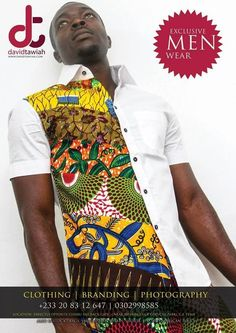 Men's shirt with Ankara print African Inspired Fashion, African Print Fashion, Africa Fashion, Fashion Prints, Ankara Fashion, African Tops, African Shirts, African Women, African Attire
