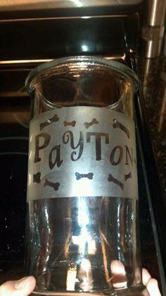 Dog treat jar...etched glass