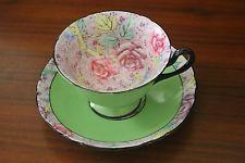 SHELLEY rose Swansea Lace Gainsborough shape green chintz TEA CUP SAUCER 11302