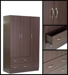 Buy Nashiro Three Door Wardrobe with Two Drawers in Chocolate Beech Finish by Mintwud Online - Modern 3 Door Wardrobes - Modern 3 Door Wardrobes - TEST - Pepperfry Product How To Clean Furniture, Modern Furniture, Three Door Wardrobe, Wardrobe Furniture, Hot Pads, Burning Candle, Wardrobes, Tall Cabinet Storage, Drawers