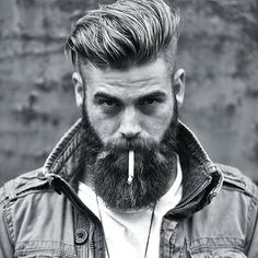 Slicked Back Undercut with Beard - Best Short Haircuts For Men: Cool Short Men's Hairstyles - Short Hair Guys Undercut With Beard, Undercut Men, Undercut Hairstyles, Cool Hairstyles, Slick Back Undercut, Undercut Pompadour, Long Hairstyle, Style Hairstyle, Formal Hairstyles