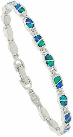 Sterling Silver Synthetic Opal Bracelet, 7 1/4 inch long Sabrina Silver. $104.50
