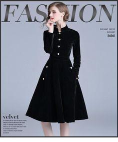 e358c0f931b3 SMSF 2018 New Autumn Winter Black Vintage Dress Women Elegant Slim Long  Sleeved Velvet Party Dress Office Swing Long Vestidos