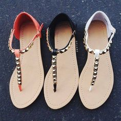 8d9b21447ef076 Pyramid Studded T-Strap Sandals Studded Sandals