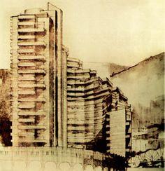 Dibujo de las futuras Torres del Parque. Rogelio Salmona, 1965