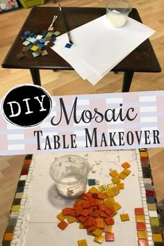 Give that plain and drab table a makeover with mosaics! Add color and pizzaz to your home decor! Recycling old furniture allows you to customize them to fit your style and home decor ideas. Mosaic Diy, Mosaic Crafts, Mosaic Projects, Handmade Home Decor, Unique Home Decor, Diy Home Decor, Old Coffee Tables, Weekend Projects, Easy Crafts For Kids