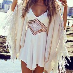 White Diamond Crochet Romper