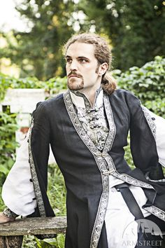 Mens medieval surcoat  Made of natural linen, decorated with trim and clasps. The surcoat can be used as main detail for Polish, Rus, Slovakian